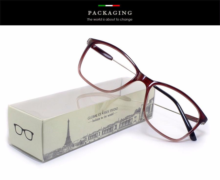 Free Shipping Big Square Shape Lens Super Light Ladies Eyewear Slim Metal Temple Comfortable Pad Prescription Available 9019