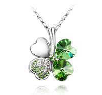 n Austrian Crystal four Leaf Leaves Clover heart rhinestones necklace pendant jewelry wholesale( min, Order $ 10 )