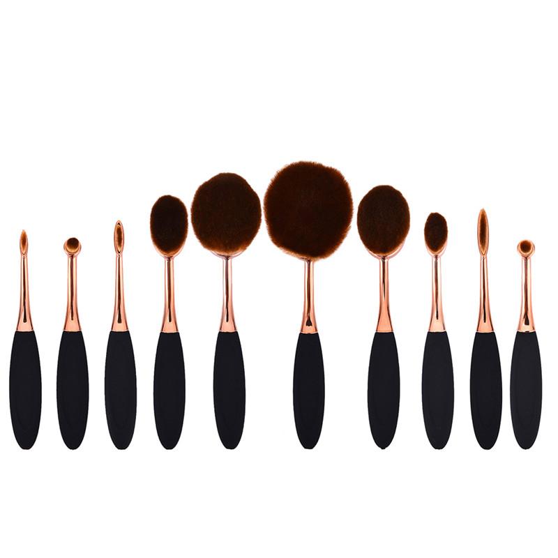 Pro 10Pcs/Set Toothbrush Shape Oval Makeup Brush Foundation Powder Eyebrow Make up Brushes Beauty Tools(China (Mainland))