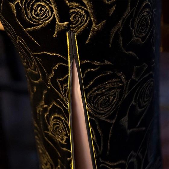 เลดี้วินเทจสตรีกำมะหยี่ยาวCheongsamจีนแฟชั่นสไตล์การแต่งกายที่สวยงามQipaoขนาดSml XL XXL XXXL F101017 ถูก