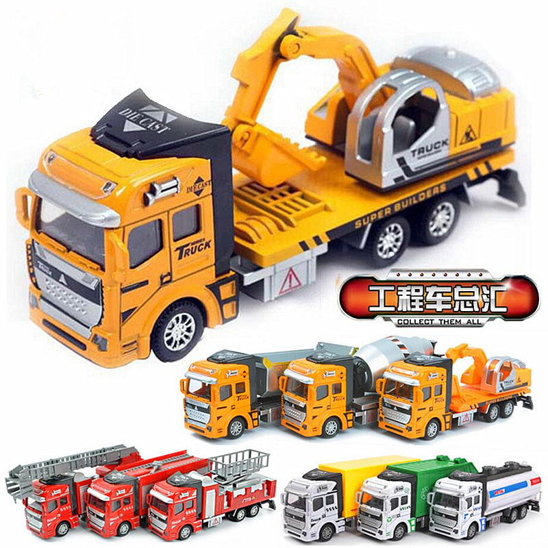 1:48 Pull Back Alloy Car Engineering Rubbish Truck Model Excavators Cement Concrete Fire Fighting Diecasts Toy Vehicles for Boys(China (Mainland))