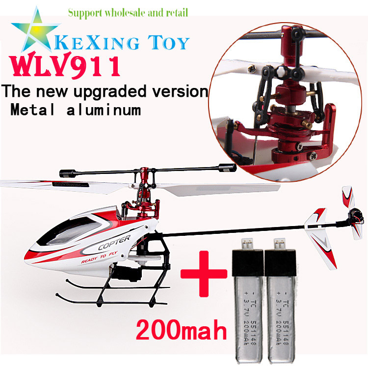 CNC Alloy Metal Upgrade Device Weili toy airplane, 2.4G Stone bare metal single blade rc helicopter V911 two batteries