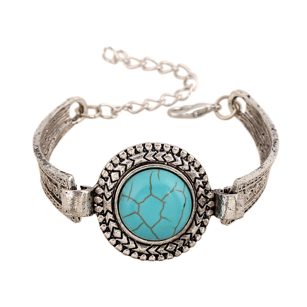 Boho Bracelet Femme New Vintage Fashion Turquoise Ancient Silver Plated Metal Sculpture Charm Bracelet For Women Jewelry(China (Mainland))