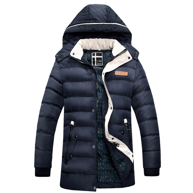 Новое зимняя куртка мужчины мода пальто хлопка теплая куртка homme мужская причинно ...