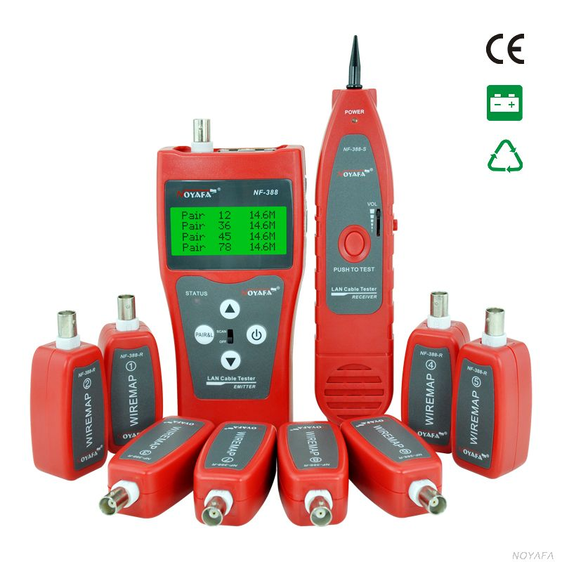 Network cable tester Cable tracker RJ45 cable tester NF-388 English version Audio Cable Tester Red color(China (Mainland))