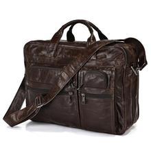 """Vintage genuine leather bags Men Briefcase natural cowskin portfolio men's messenger bag male bag 15.6"""" laptop handbag #MD-J7093(China (Mainland))"""