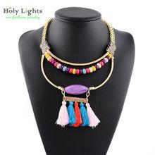 New Bohemia trible women Multi-layer tassels color stone resin Rhinestone necklace pendant statement Necklace women jewelry 2016(China (Mainland))