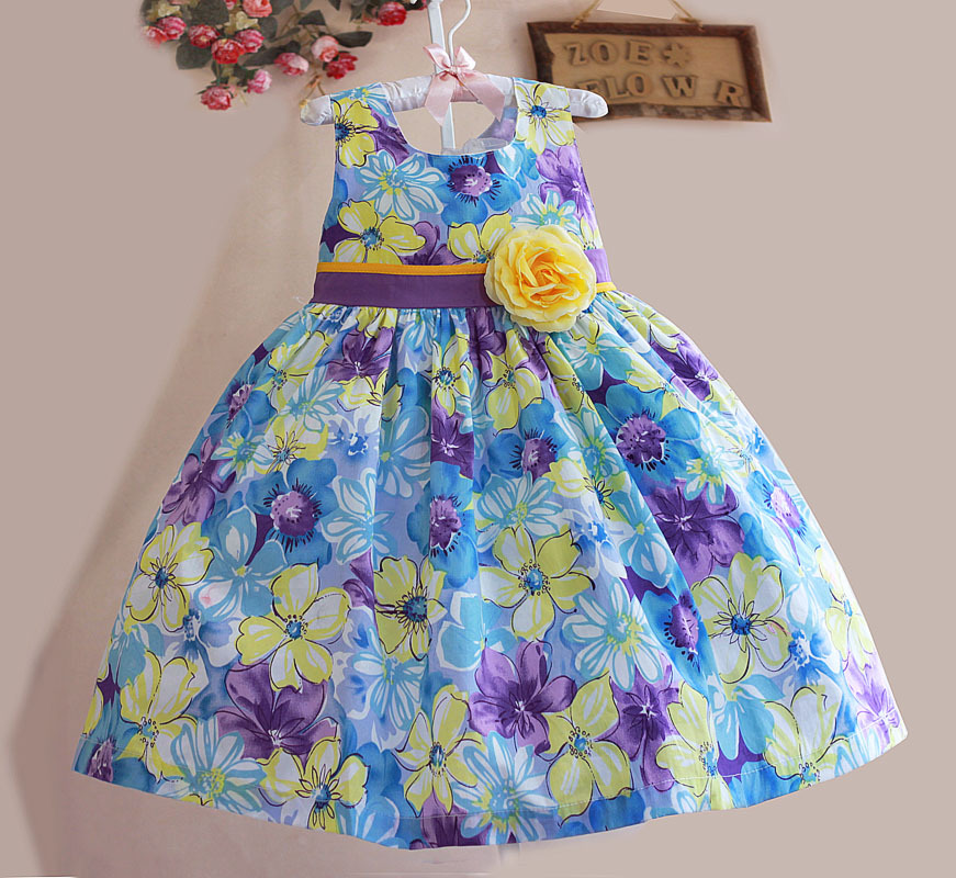 New Fashion Baby Girl Dress with Yellow Bow Girl Flower Dress Princess Party Kids dress For 3-7 years(China (Mainland))