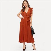 Sheinside ירוק V צוואר לפרוע Trim ארוך לעטוף שמלה אלגנטי ללא שרוולים נשים קיץ שמלות 2019 גבירותיי קו קפלים שמלה(China)