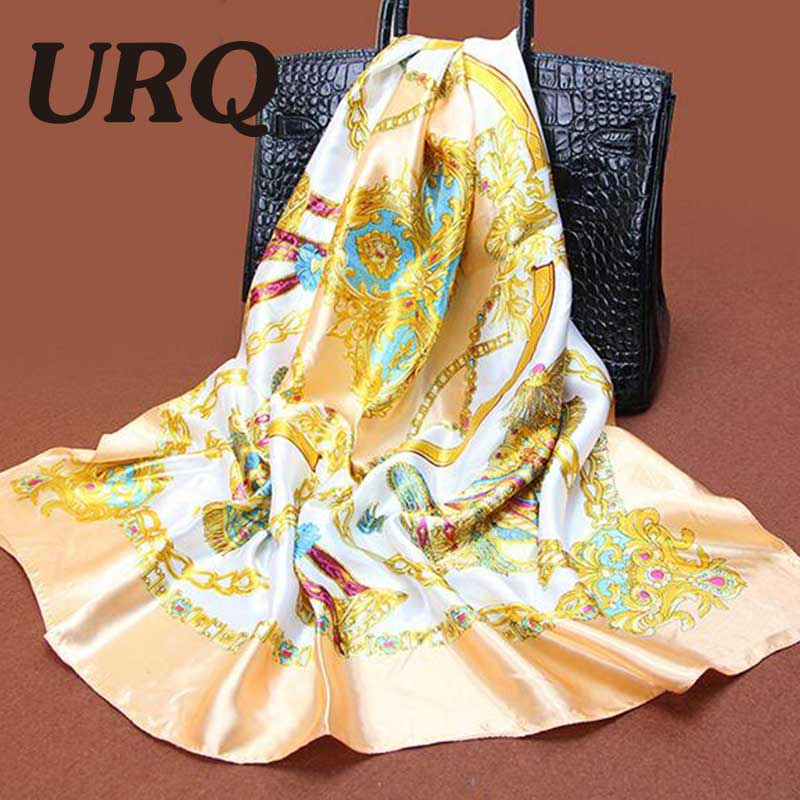 1PC 90*90cm Elegant style wagon & chain printed square satin silk scarves silk S9A9142(China (Mainland))