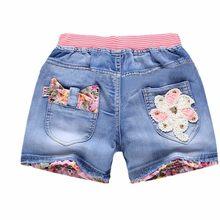 Nowe letnie dzieci krótkie spodenki jeansowe dla dziewczynek moda dziewczyna krótki księżniczka dżinsy spodnie dla dzieci dziewczyny spodenki odzież dla dziewczynek z kwiatami(China)