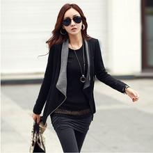 2015 New Fashion Spring new Women s Korean Causal Patchwork Side Zipper jackets Slim Turn Down