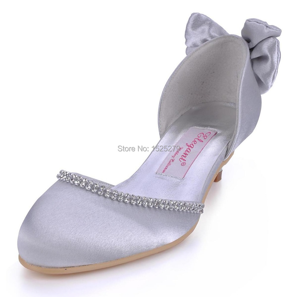 Fast Shipping EP41012 BT Women Silver Bridal Party Shoes Round Toe Low Heel Prom Party Pumps