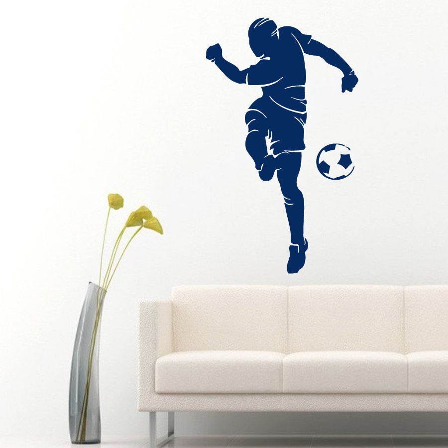 Wall Vinyl Decal Room Sticker Football Player Ball Soccer Sport People Home 22x27inch(China (Mainland))