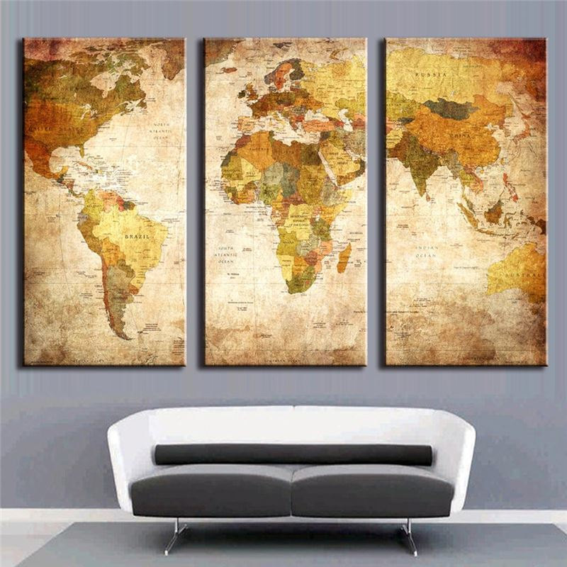 Luxry 3 pieces modern oil painting on canvas with world for What kind of paint to use on kitchen cabinets for 2 panel canvas wall art