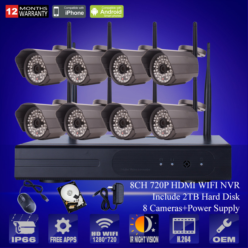Plug And Play 720P IP Camera WIFI HD H.264 Outdoor IR Night Vison Home Video Security Wireless CCTV System 8CH NVR 2TB HDD<br><br>Aliexpress