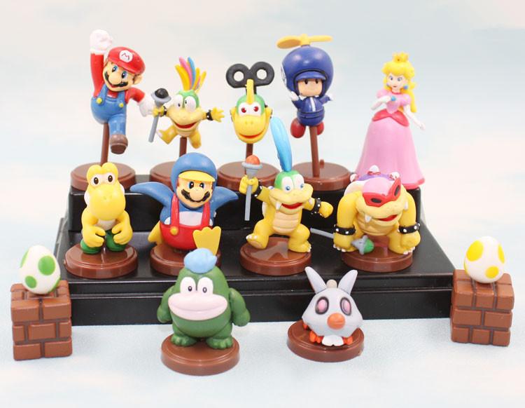 EMS 50set 1set=13pcs Super Mario Bros Figure Toy PVC Doll Mario Luigi Bomb Toad Peach Yoshi PVC Model Toys With Box Gift 4Styles