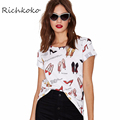 Richkoko New Fashion Women Summer Cute Printed Street Style Casual Loose Short Sleeve Crew Neck Basic