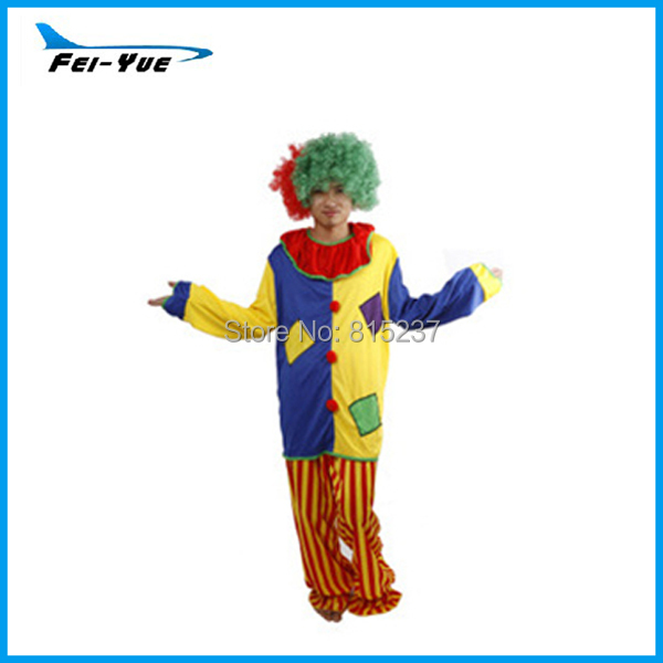 Popular Colorful Halloween Carnival Costume Professional Candy Man Clown Costume With Hair(China (Mainland))
