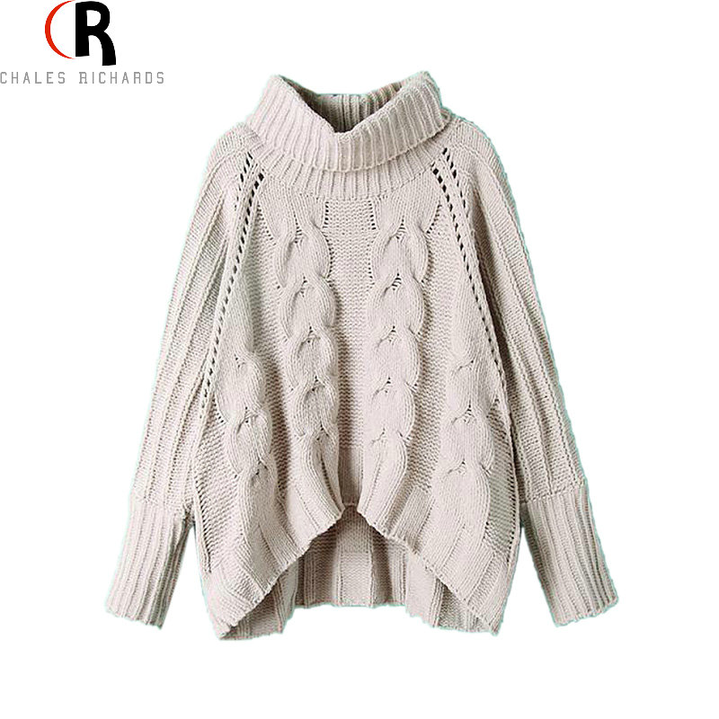 CHOIES Women Gray Long Sleeve Turtleneck Pullover 2016 Fall Winter Warm New Design Loose Casual Cable Knitted Sweater(China (Mainland))