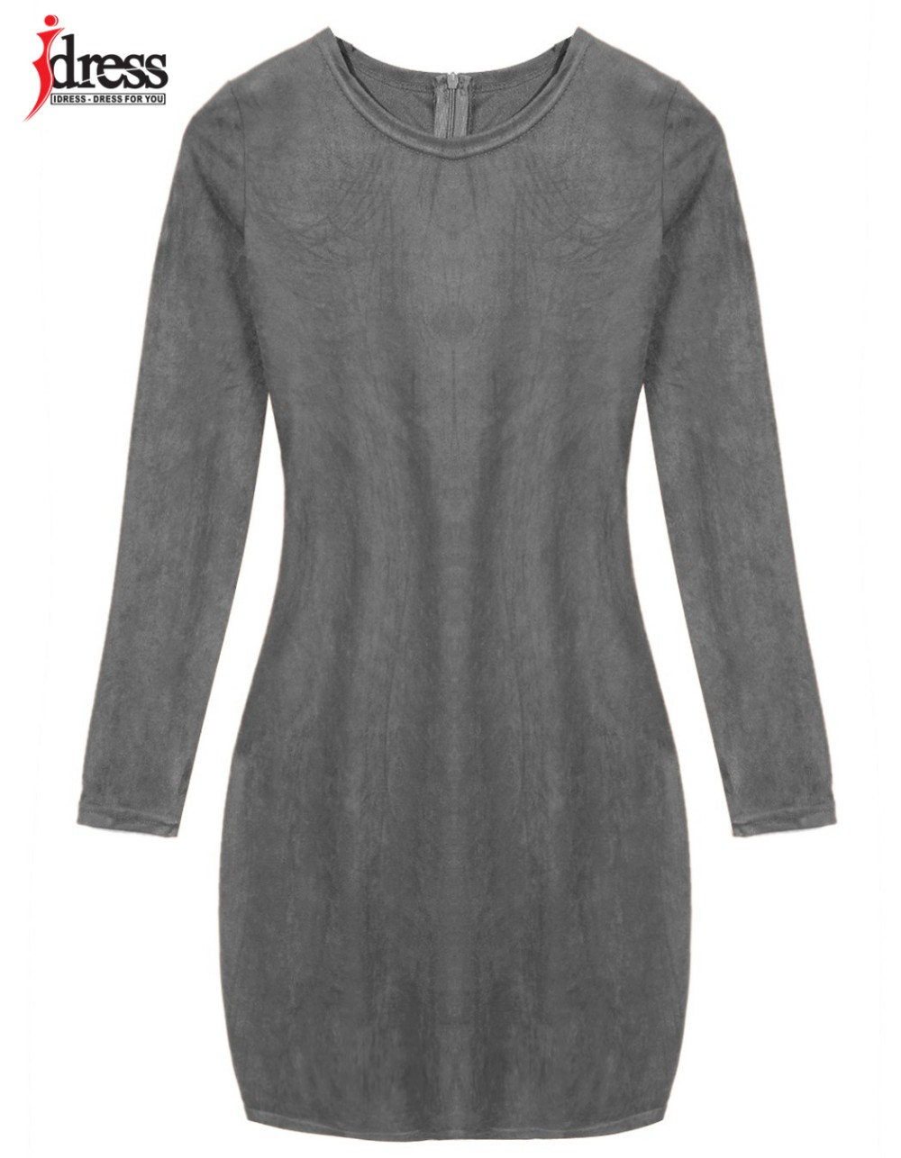 IDress 2016 Grey Brown Faux Suede Dress Bodycon Party Dresses Women Clothing Sexy Club Bandage Long Sleeve Autumn Dress Plus Size (6)
