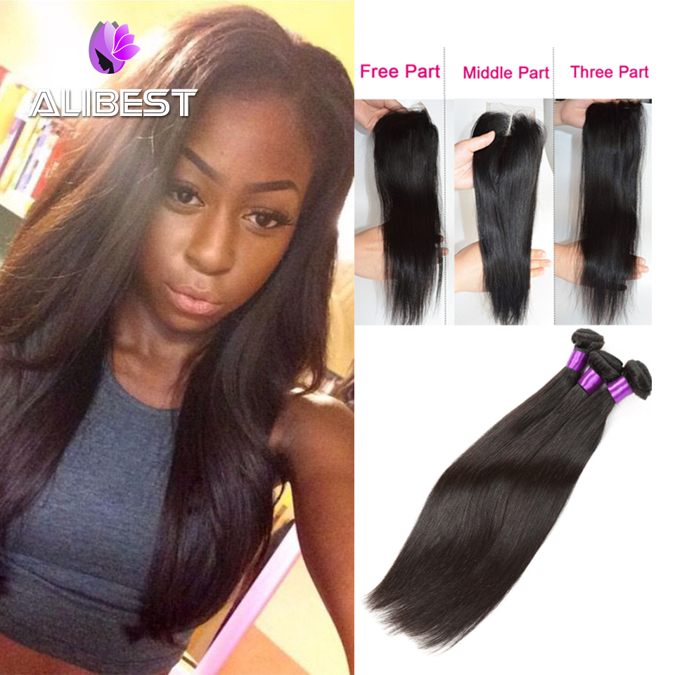 Ali Best Hair Products Brazilian Virgin Hair 3 Bundles With Closure Unprocessed Virgin Brazilian Hair Weave With lace Closure