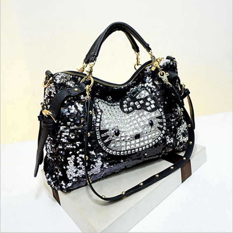Luxury famous brand women female sequined bags leather hello kitty handbags shoulder tote bolsos mujer de marca sac de marque