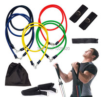 11Pcs/Set Fitness Cordages  Resistance Bands Exercise Tubes Gym  Practical Elastic Training Rope Yoga Pull Rope Pilates Workout