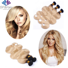 #1B 613 Blonde Virgin Hair TwoTone Wet Wavy Human Extensions Rosa Products Peruvian Body Wave Weaves - Sinder Factory store