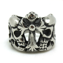Mens Boys 316L Stainless Steel Punk Gothic Silver Cross Couple Skull Newest Ring Factory Price