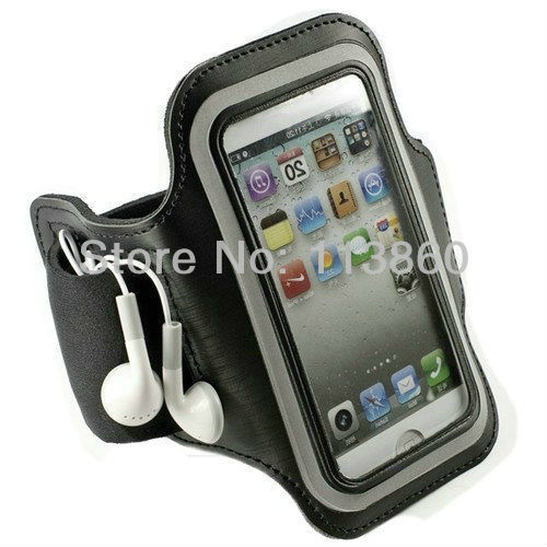 For Apple iPhone 5 5G 4G 4GS Soft Arm Belt Holder Armband Jogging Running Cell Phone Carrying Wateproof Case Bag Free Shipping