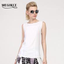 MIEGOFCE 2016 summer New arrival chiffon tops round neck sleeveless Slim workwear high quality Vest Shirt Blouse Black White hot(China (Mainland))