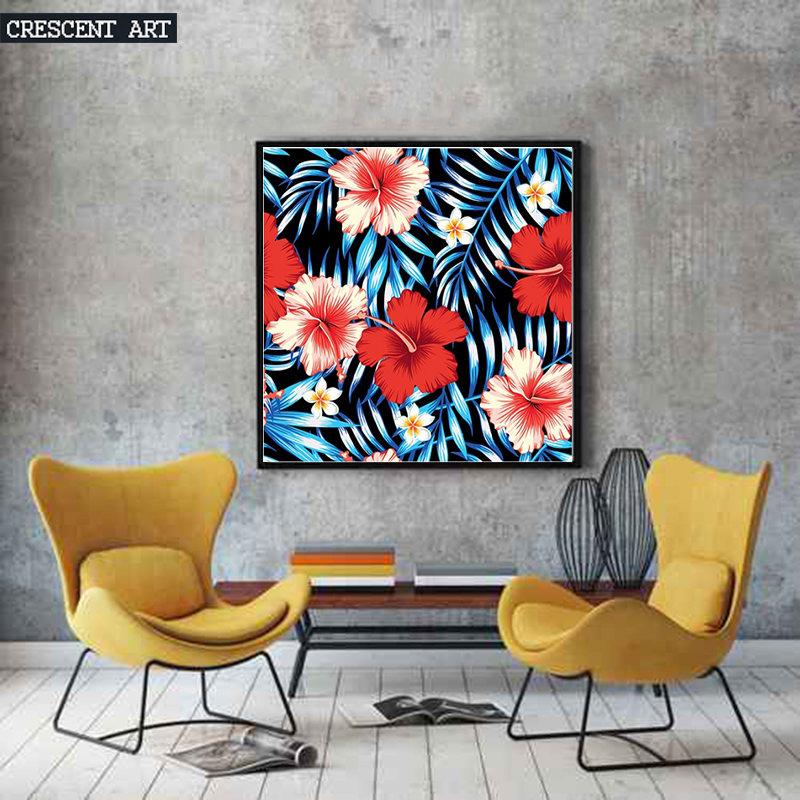 Hawaiian Aloha Flowers Spring Bloom Wall Decoration Poster Leaves Picture Print Canvas Photo Art Home Decor for Livingroom(China (Mainland))