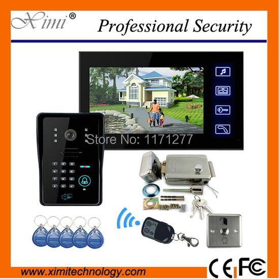 "Hot New Touch Key 7"" Video Door Phone Bell Intercom System Record Monitor +Code Keypad Camera + Electric Door Lock Free Shipping(China (Mainland))"