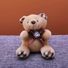Animal bonito Urso De Pelúcia Keychain Chave Titular Saco para o Saco de Charme Hanging Charme Chave Pingente Anel Principal Big Cristal nó boneca de Brinquedo(China)