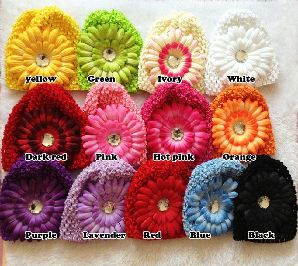 Winter Warm Cute Baby Girl Candy Colors Daisy Flowers Hand Crochet Beanie knitted Hat Cap Accessories(China (Mainland))