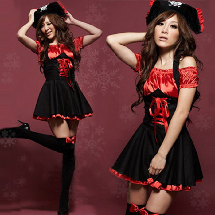 04NH 2015 New arrival Pirate Princess Dress Red DS Stage Outfit Sexy Photo jazz Uniform Temptation Night Wish For Your Love(China (Mainland))
