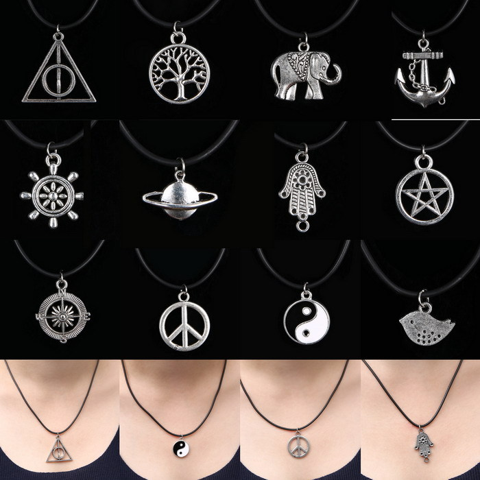 12 Style New Charms Tibetan Silver Pendant Necklace Choker Charm Black Leather Cord Handmade Necklaces yin yang Peace Rudder(China (Mainland))