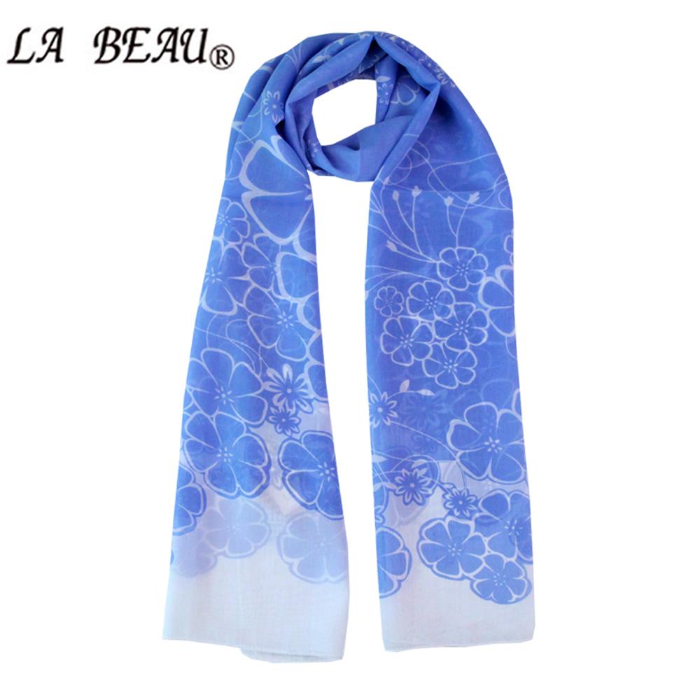 New Summer Blue Chiffon Scarf Imitated Silk Satin Scarf Flower Print Fashion Long Scarf Desigual Neckerchief Shawl For Women(China (Mainland))
