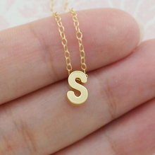Diy 26 Letter Charm pendant necklace women Simple necklace collarbone plated chain necklace gold jewelry Collier