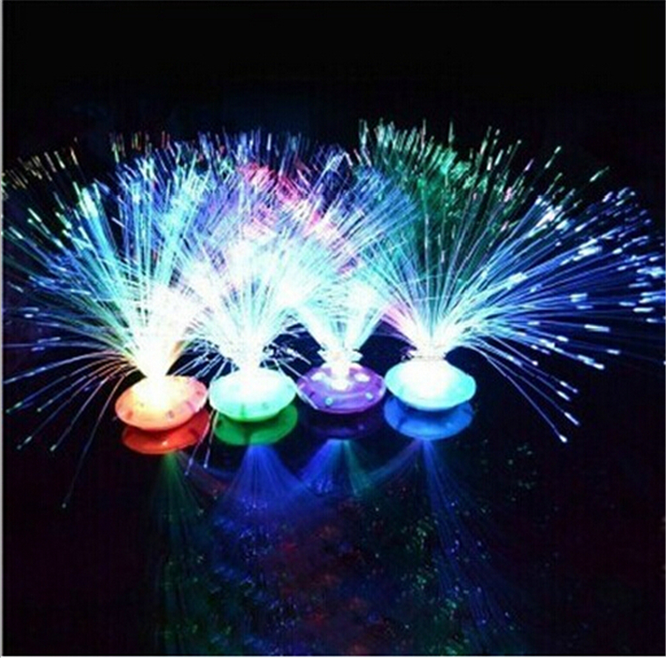 Wholesale New Stars Flash Light Emitting Fiber Flower For Home Holiday Toys Lights abajur para quarto Novelty Gadget LED Light(China (Mainland))