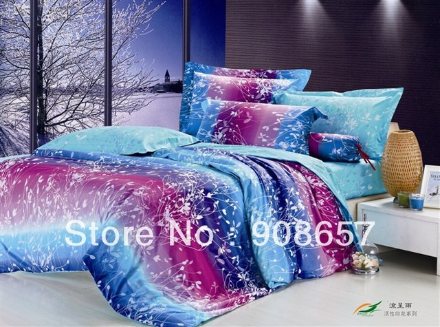 500 thread count purple blue leaves pattern cotton duvet covers sets 4pc for bedding full comforter or quilt cotton bed linen #N