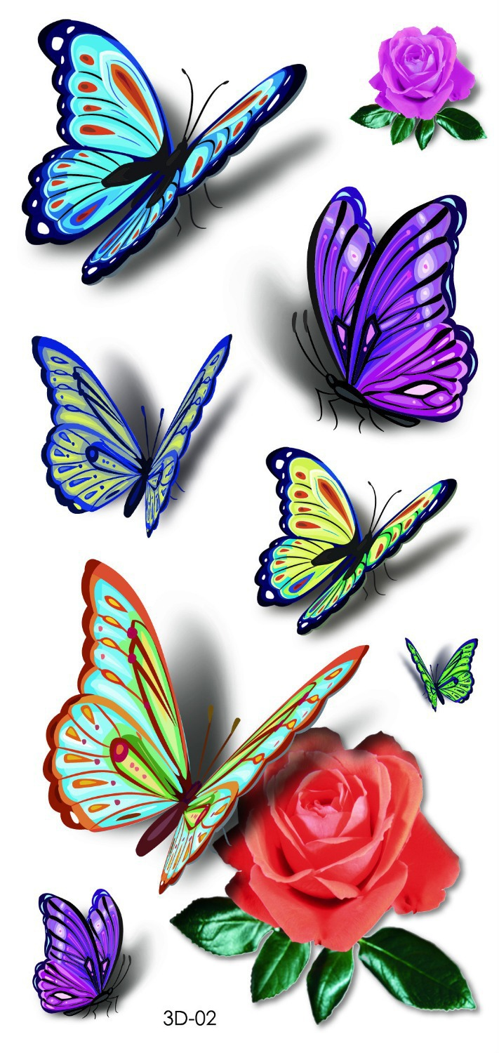 3d tattoo butterfly 2015 new designs waterproof temporary tattoos stickers women green purple 3d. Black Bedroom Furniture Sets. Home Design Ideas