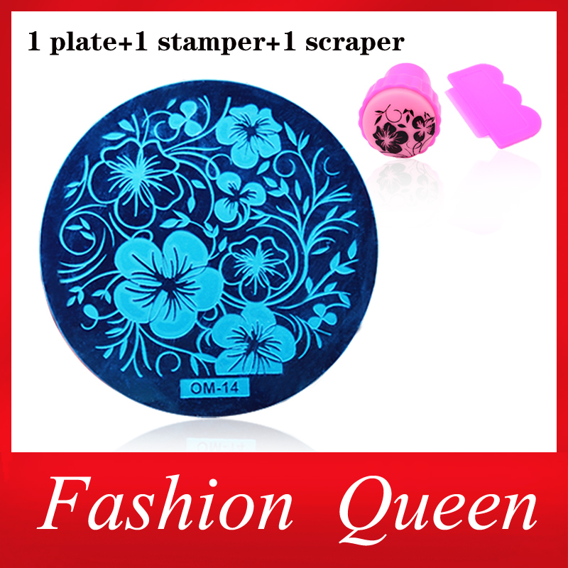 New 60Designs OM Nail Art Plate Stamp Stamping Set Round Stainless Steel DIY Nail Polish Print Manicure Nail Stencil Template(China (Mainland))