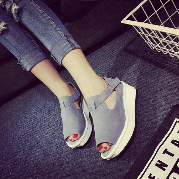 Sandales sandalias plataforma new fashion fish head wedges platform women sandals 2015 summer grey casual women shoes female(China (Mainland))