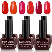 Gel Len Nail Gel Polish Soak off UV Gel Color Nail Polish 8ml 6pcs/lot Long Lasting LED/UV Gel Varnish 240 Colors Available (China (Mainland))