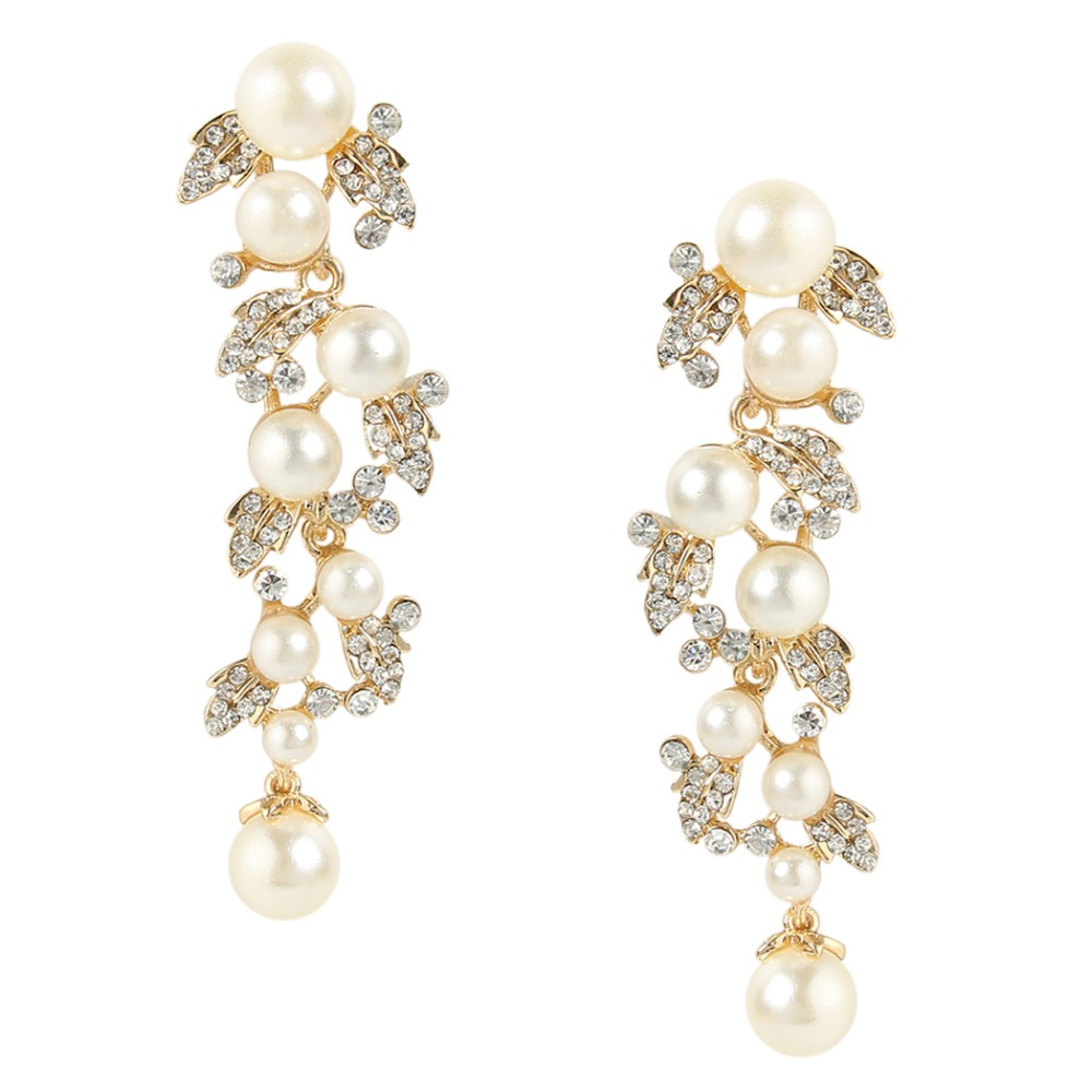 Bella 2015 New Gold Bridal Simulated Ivory Pearl Dangle Earrings Clear Austrian Crystal Earrings For Bridesmaid Wedding Jewelry<br><br>Aliexpress