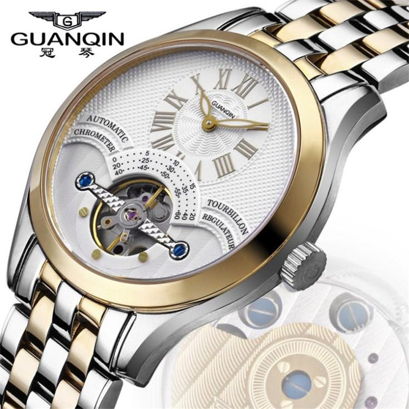 Watches Men Luxury Brand Original GUANQIN Tourbillon Sapphire Waterproof Automatic Skeleton Mechanical Watch reloj hombre