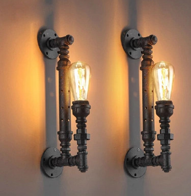 Фотография Russia free shipping home decoration lighting industrial water pipe ancient color iron finished edison style retro wall lamp