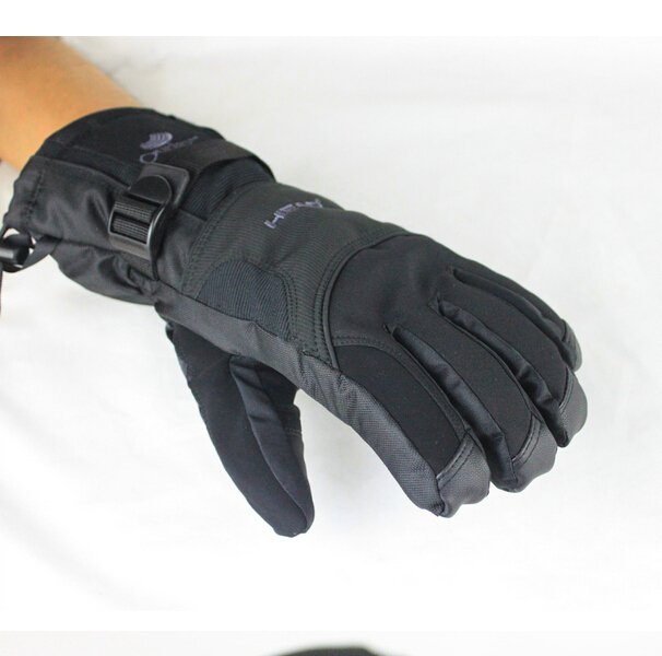 2015 cold winter outdoor gloves and motorcycle Ski gloves made of nylon and leather windproof /Warm function, classic black(China (Mainland))